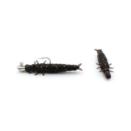 Nikko Caddisfly Large Dark Brown Gold Flake